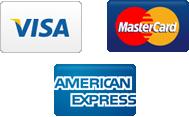 credit cards we accept: mastercard, visa and american express
