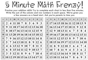 Math Frenzy - Addition Answers